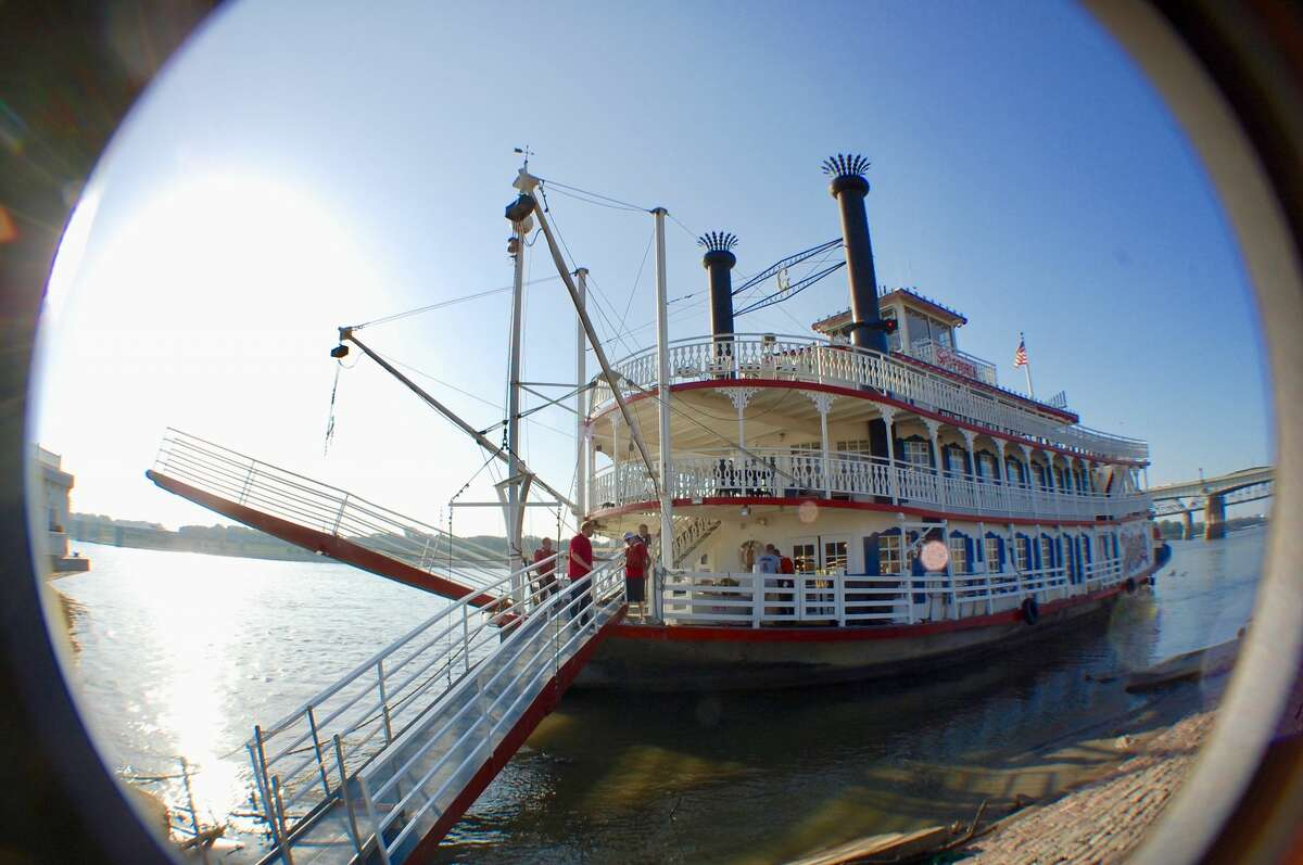 A fisheye view of the Spirit of Peoria docked on the St. Louis riverfront.