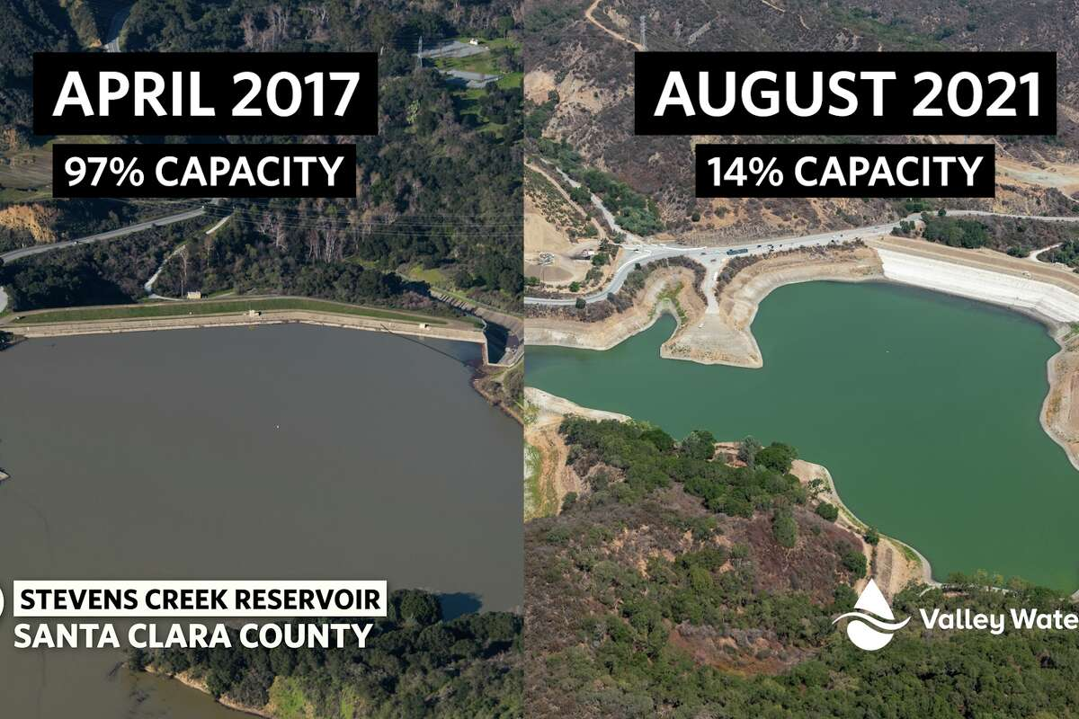 Side-by-side images show the Stevens Creek Reservoir in Santa Clara County in April 2017 and August 2021.