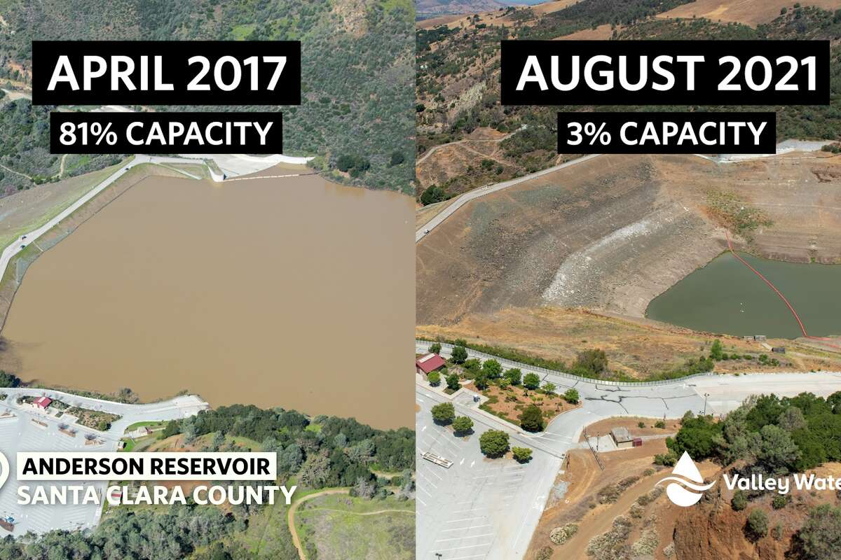 Side-by-side images show the Anderson Reservoir in Santa Clara County in April 2017 and August 2021.
