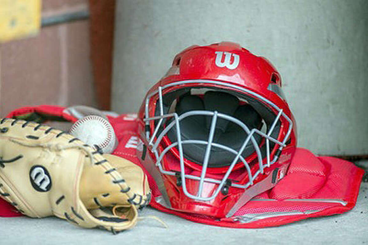 Pictured is a baseball helmet.