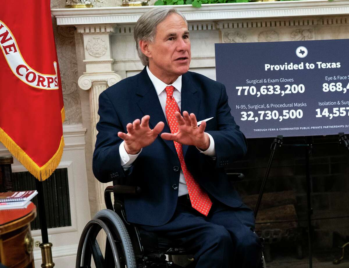 Gov. Greg Abbott of Texas speaks during a meeting with then-President Donald Trump at the White House on May 7, 2020. Abbott, an ardent opponent of mask and vaccine mandates, tested positive for the coronavirus on Tuesday, Aug. 17, 2021.