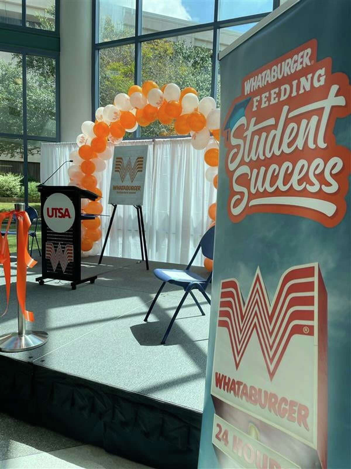 Whataburger partnered with the San Antonio Food Bank to help the University of Texas at San Antonio reopen the main campus studentresource room. The main campus provision, now officially named the UTSA Whataburger Resource Room, provides food items, toiletries, school supplies, and essentials free of charge year-round for Roadrunners.