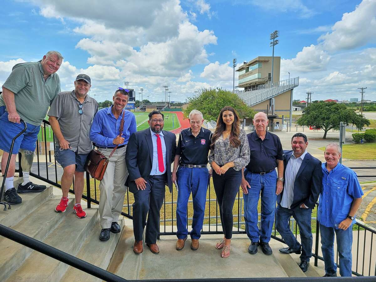Crew for KCWX High School Football Game of the Week. From left to right: Walter Stroops, Robert Calder, David Christopher, Bobby Mendez, Gary DeLaune, Isabella Radovan, Jerry Comalander, Hector Ledesma and Steve Fanning.