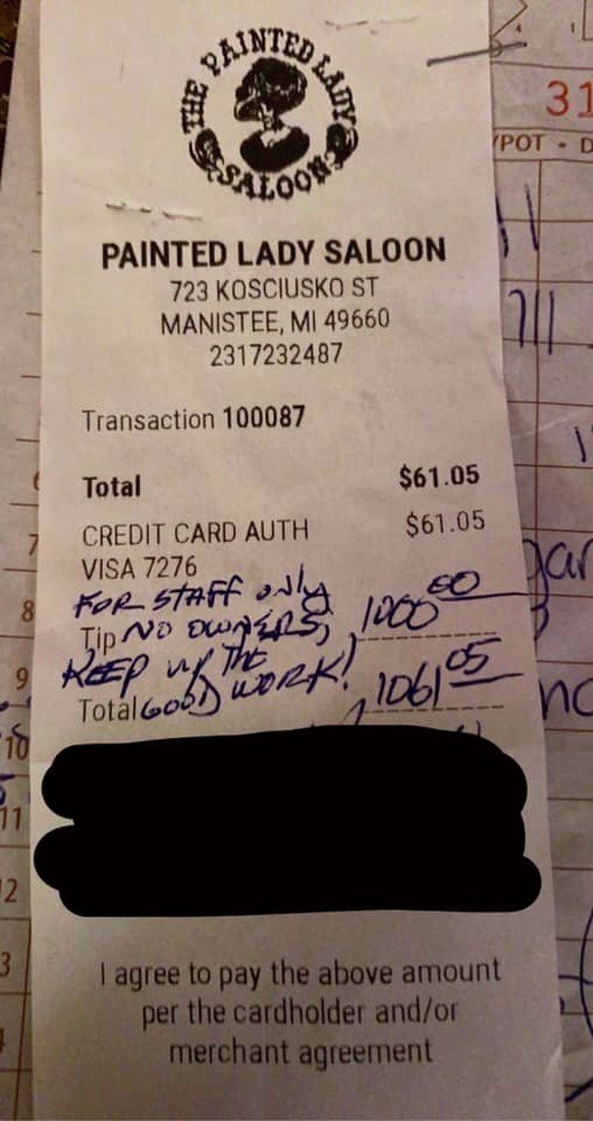 Staff at the Painted Lady Saloon in Manistee's Maxwelltown neighborhood were surprised this week by receivinga $1,000 tip. (Courtesy Photo)