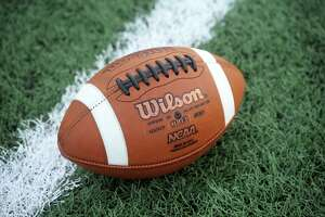 A football, to illustrate high school football, photographed at Norwalk High School, in Norwalk, Conn. Sept. 25, 2020.