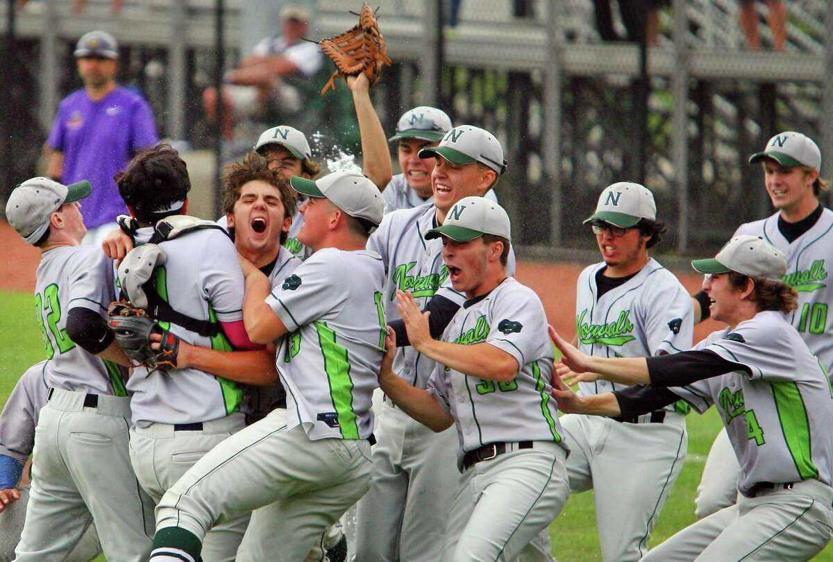 Norwalk celebrates its win over Westhill in Class LL state championship baseball action at Palmer Field in Middletown Conn., on Saturday June 12, 2021.