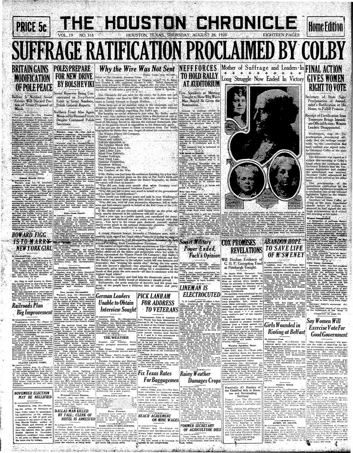 Houston Chronicle front page from Aug. 26, 1920.
