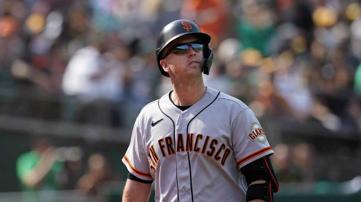 San Francisco Giants' Buster Posey against the Oakland Athletics during a baseball game in Oakland, Calif., Saturday, Aug. 21, 2021. (AP Photo/Jeff Chiu)