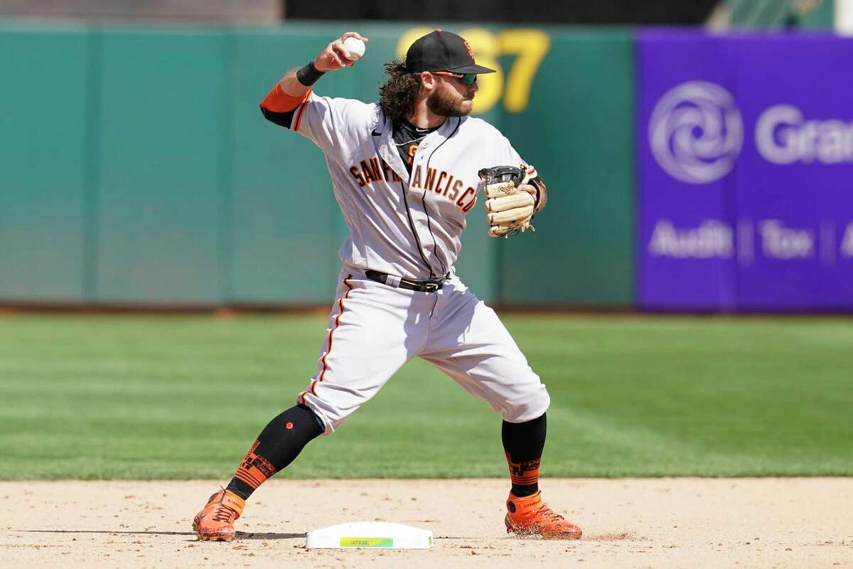 San Francisco Giants' Brandon Crawford against the Oakland Athletics during a baseball game in Oakland, Calif., Sunday, Aug. 22, 2021. (AP Photo/Jeff Chiu)