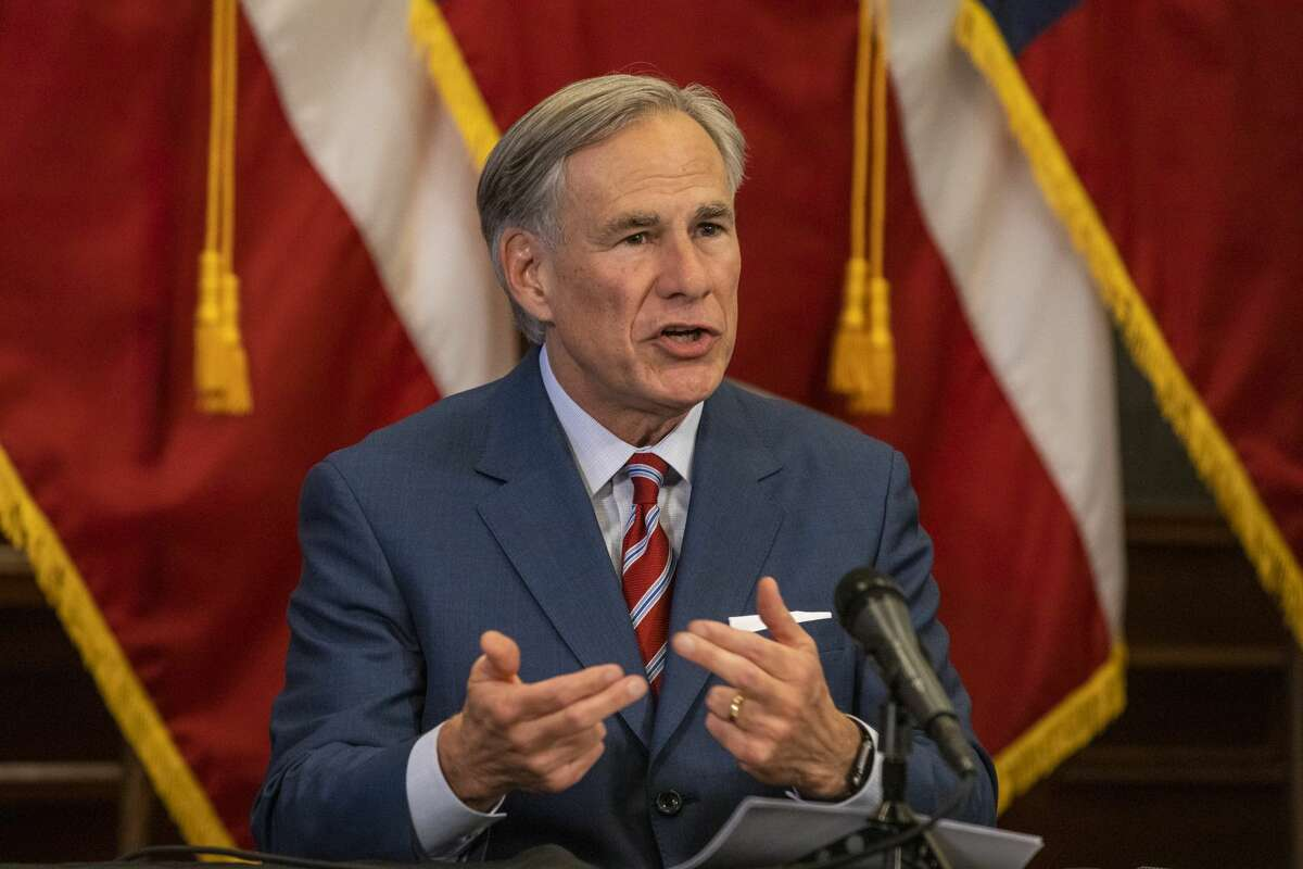 Texas Governor Greg Abbott at a press conference at the Texas State Capitol on May 18, 2020 in Austin, Texas.