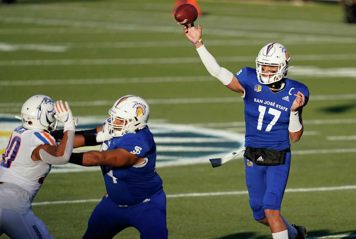 San Jose State quarterback Nick Starkel played two seasons for Texas A&M and one for Arkansas before blossoming with San Jose State in 2020.