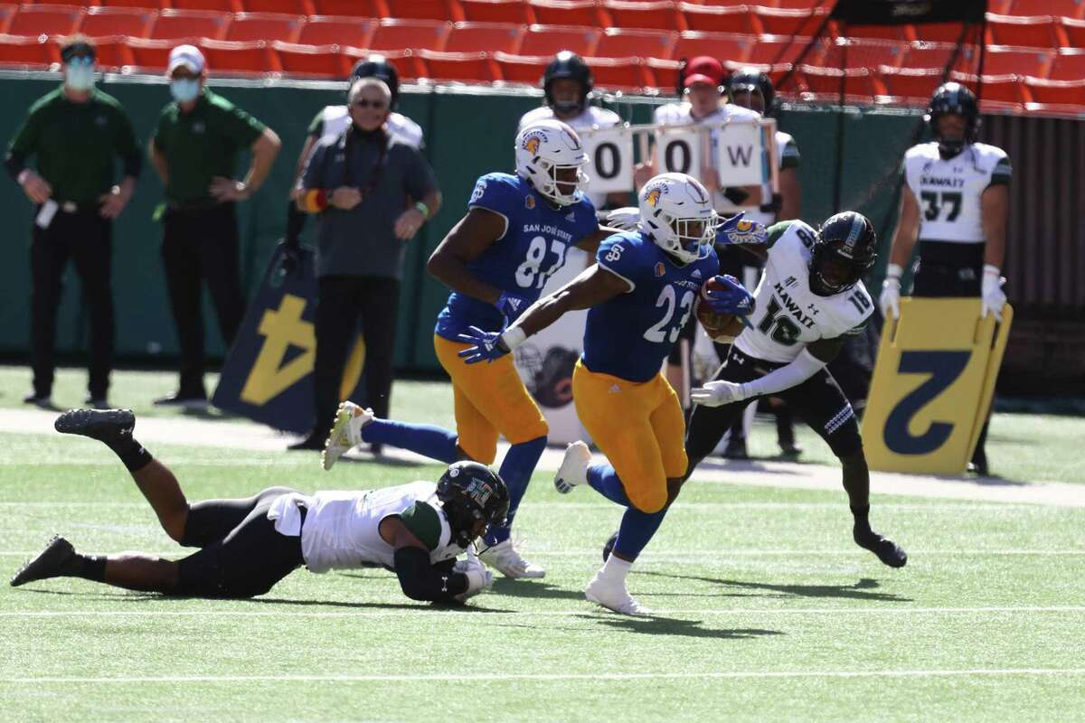 San Jose State's Tyler Nevens ran for 152 yards and two touchdowns on 16 carries against Hawaii in December.