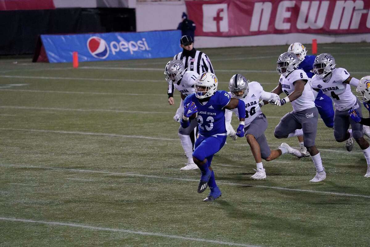 San Jose State's Tyler Nevens ran for a career best 184 yards and a touchdown on 12 carries against Nevada on Dec. 11.