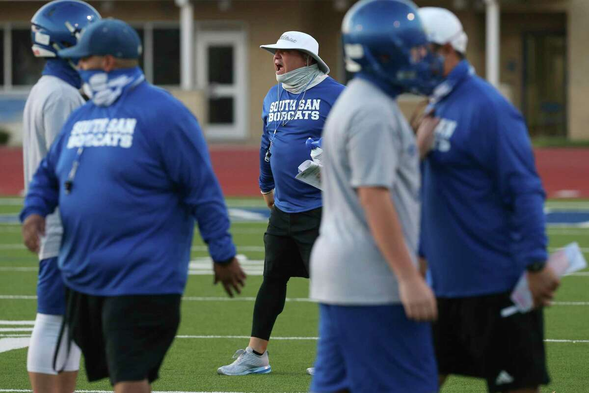 South San Bobcats head football coach Phil Barron works with his team during the first practice of the season, Monday, Oct. 5, 2020.