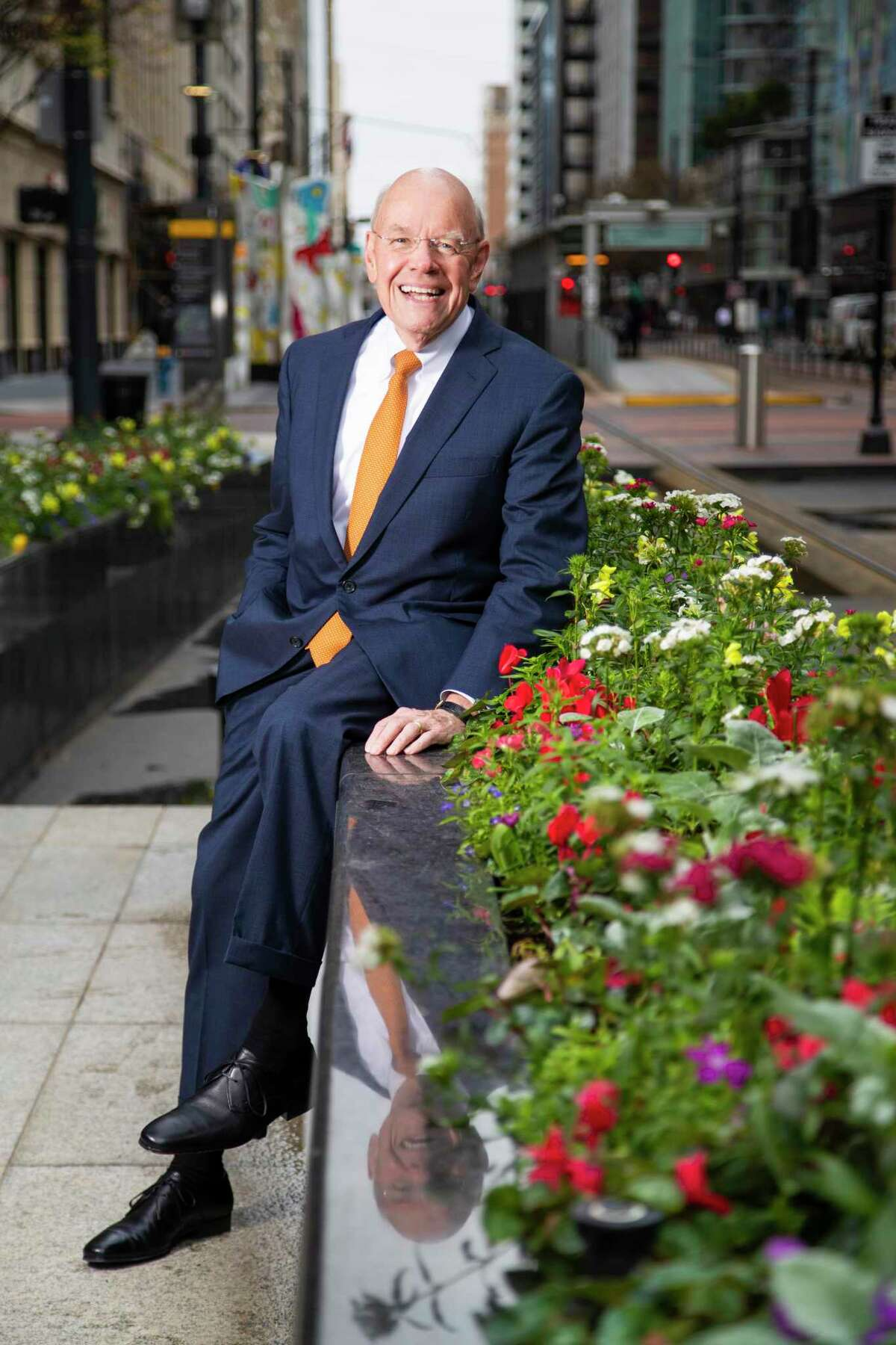 Outgoing Downtown District president Bob Eury in the downtown's Main Street area on Wednesday, Jan. 29, 2020, in Houston.
