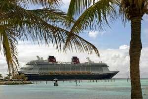The Disney Fantasy at Castaway Cay, Disney's private island in the Bahamas.