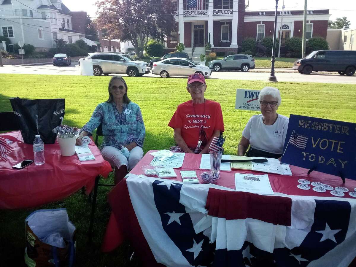 League of Women Voters of Litchfield County members Judy Armstrong, Bernie Harrington and Sister Rosemarie Greco handed out information on voter registration at the event.