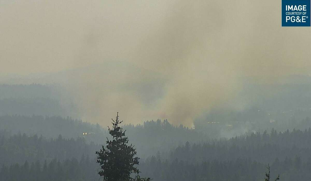 This PG&E camera that is part of the AlertWildfire network shows the Bennett Fire near Grass Valley on Aug. 25, 2021.