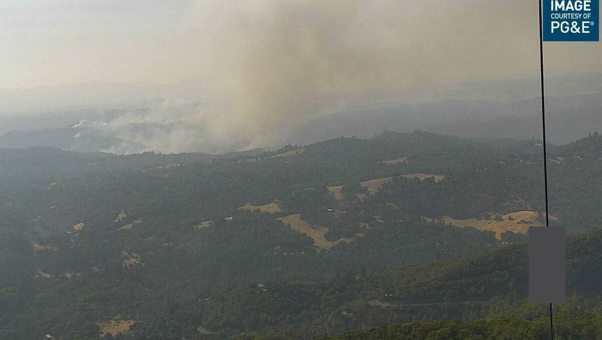 This PG&E camera that's part of the AlertWildfire network shows the Airola Fire on Aug. 25, 2021.