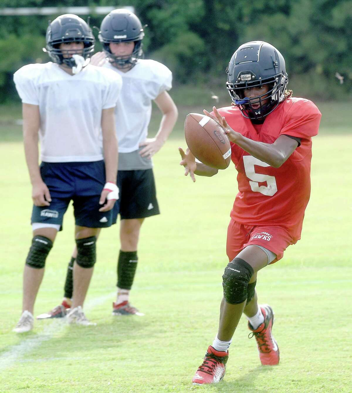 Hardin-Jefferson practices as they prepare for the 2021 season. Photo made Tuesday, August 10, 2021 Kim Brent/The Enterprise