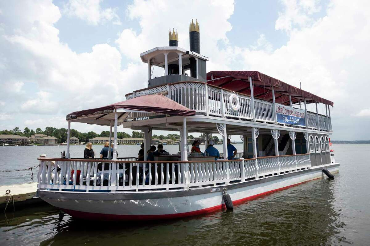 The Lake Conroe Queen, a smaller paddleboat style vessel, is seen, Wednesday, June 23, 2021, in Conroe. The Lake Conroe Queen was built in 1986 in Grand Ledge, Michigan and has traveled to Indiana, Colorado and Louisiana. The boat capsized on Aug. 14 during a thunderstorm. One man died following the incident.
