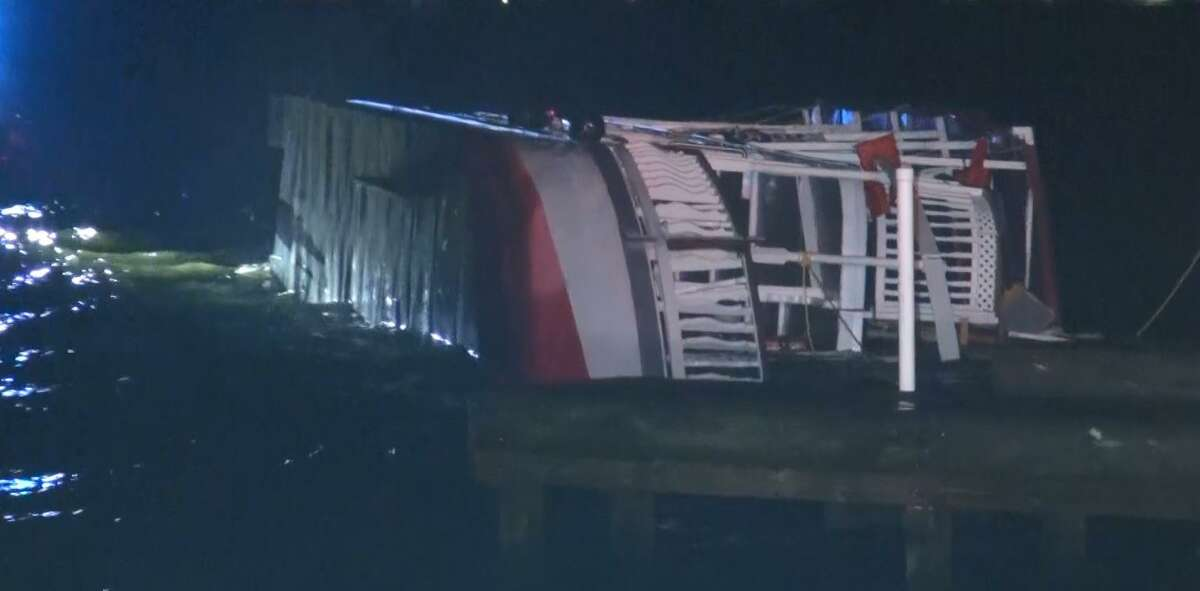 The Lake Conroe Queen, a tour boat on the lake, flipped over during Aug. 14 high winds on the lake.