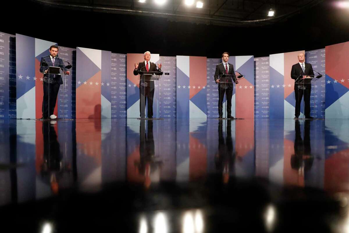 (left to right) Democrat Kevin Paffrath and Republicans John Cox, Kevin Kiley and Kevin Faulconer during a debate of California gubernatorial recall election hosted by KCRA 3 and San Francisco Chronicle in Sacramento, Calif., on Wednesday, August 25, 2021.