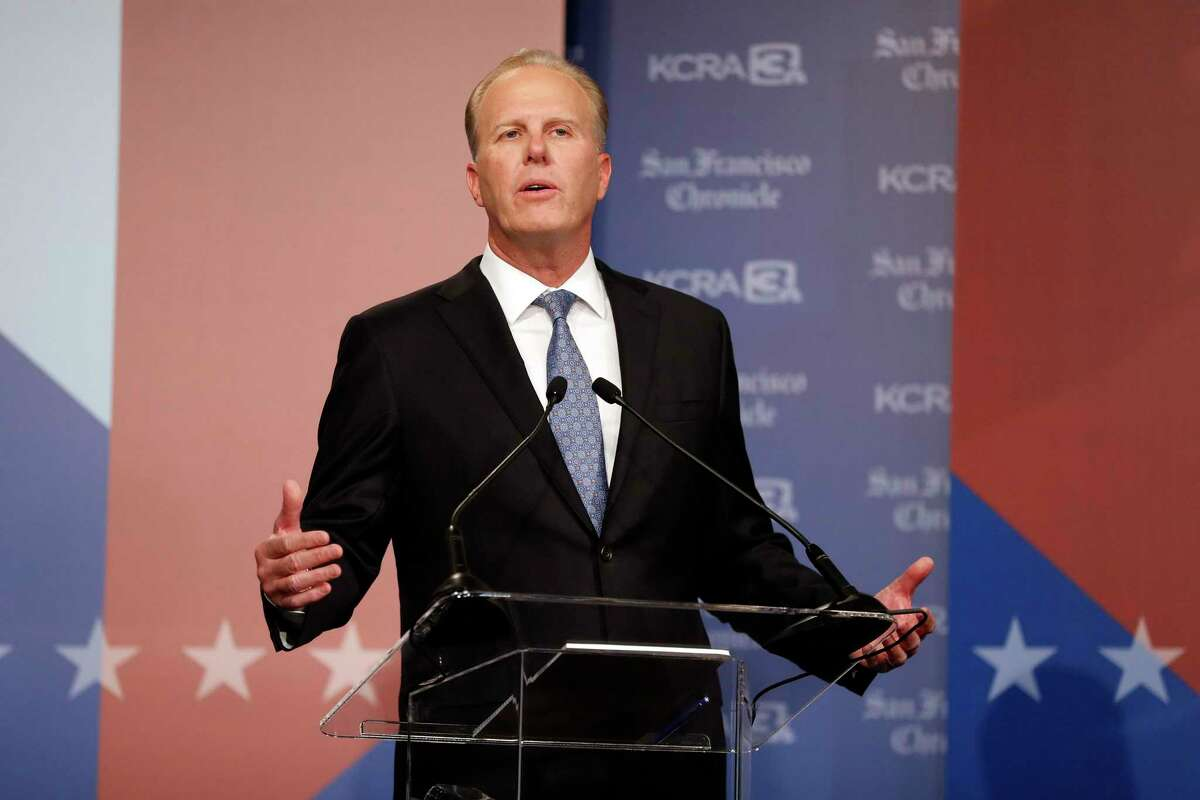 Republican Kevin Faulconer speaks as KCRA 3 and San Francisco Chronicle hold a debate of California gubernatorial recall election candidates in Sacramento, Calif., on Wednesday, August 25, 2021.