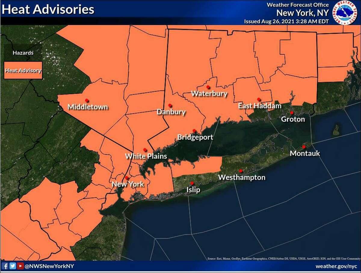 Most of Connecticut is under a heat advisory until 8 p.m. Thursday, Aug. 26, 2021.