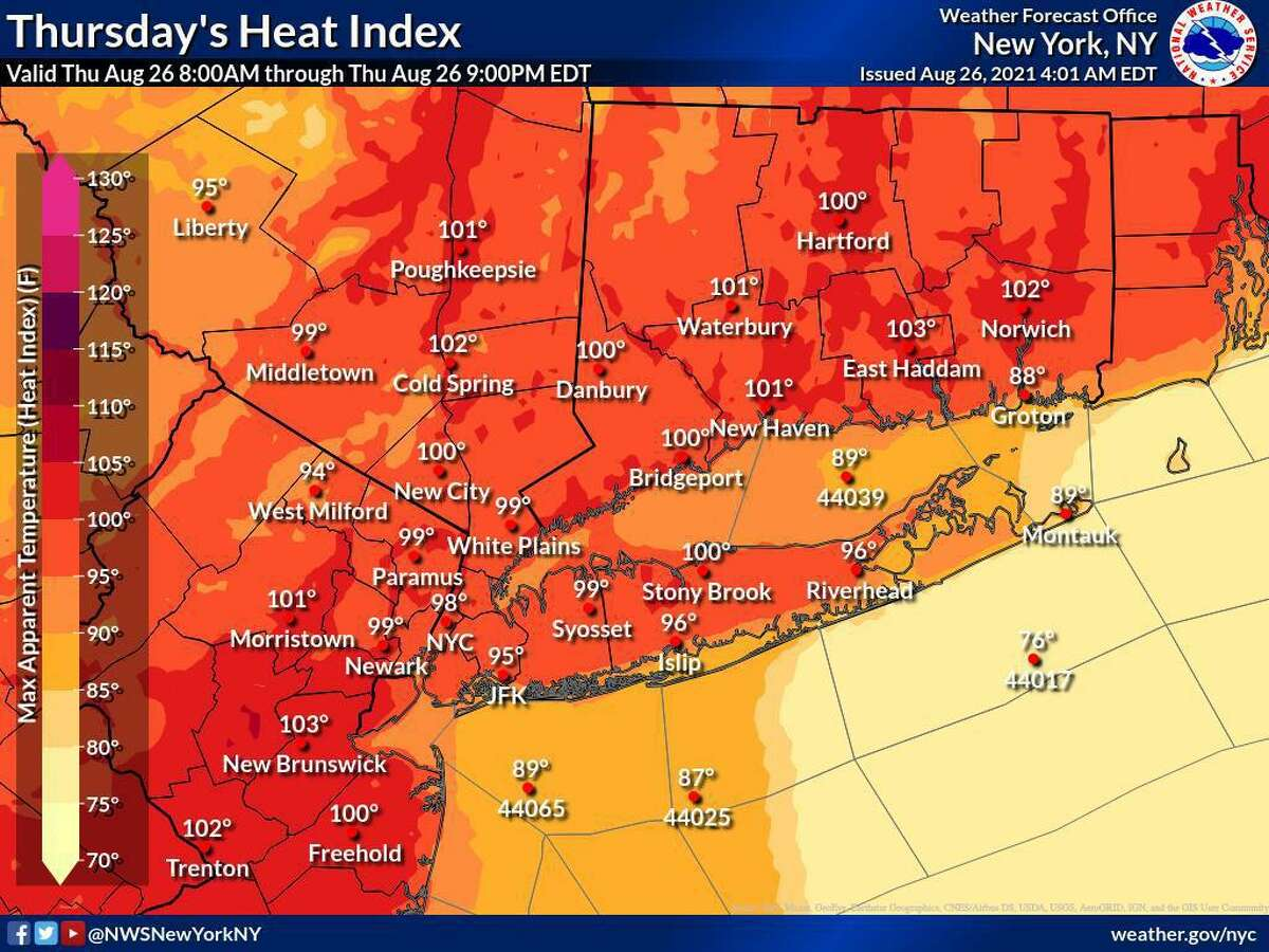 Heat index values across Connecticut will reach the low-100s on Thursday, Aug. 26, 2021.