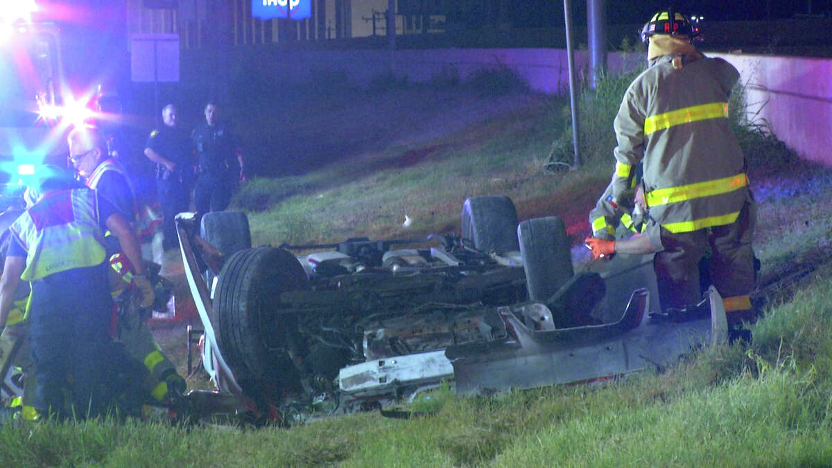 A woman believed to be in her 40s died in a single-vehicle accident Thursday morning on an Interstate 10 access road on the Northwest Side, officials said.