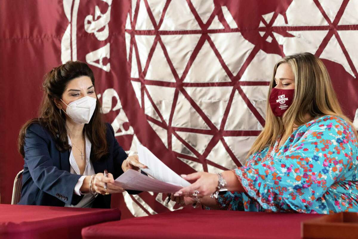 Representatives from 11 local non-profit organizations signed MOUs with TAMIU to form a year-long partnership in hopes of strengthening the community and students, Wednesday August 25, 2021.