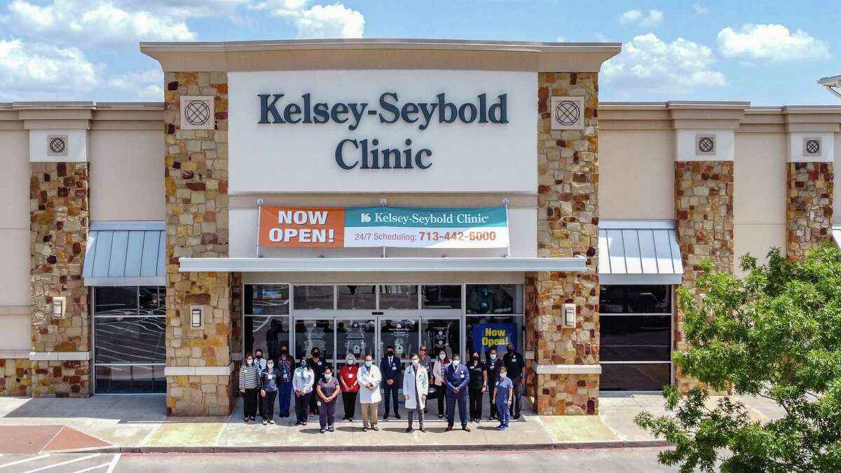 Providers and staff celebrate the opening of Kelsey-Seybold Clinic - North Channel in the Shops at Stone Park, at 5820 E. Sam Houston Parkway North on Aug. 23, 2021.