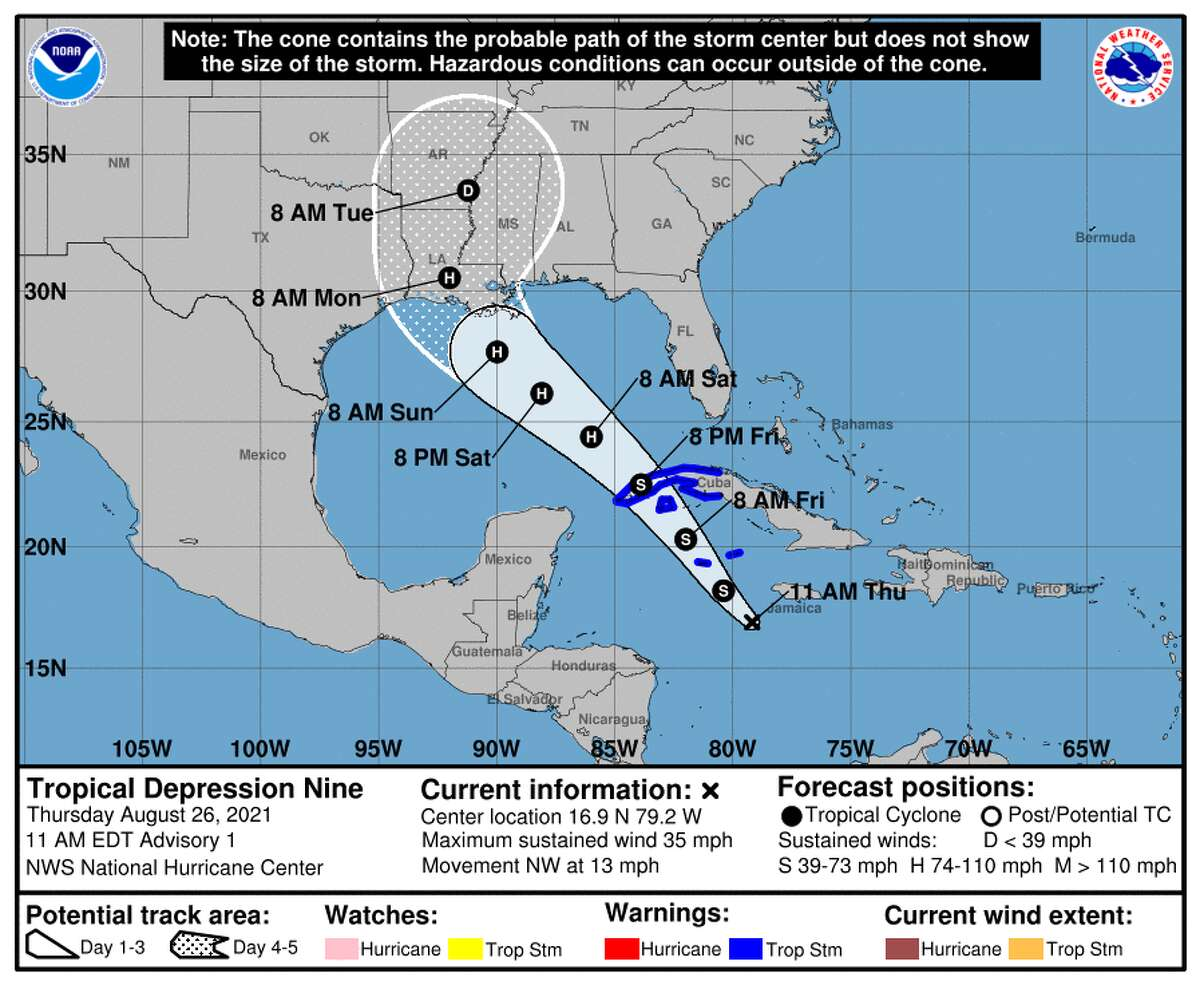 The cone of uncertainty as predicted for Tropical Depression 9.