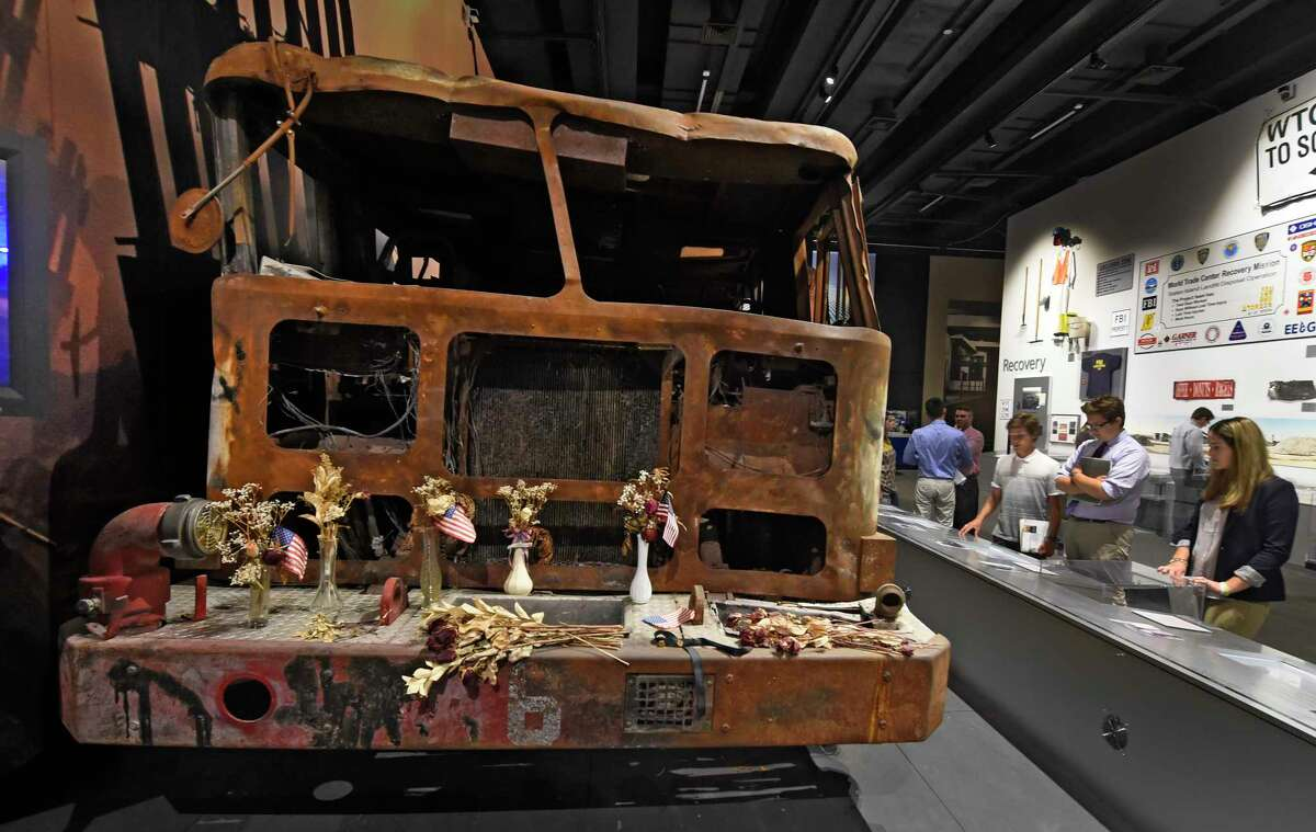 A New York Fire Department truck destroyed after the 9/11 attacks is on permanent new at the State Museum in Albany.
