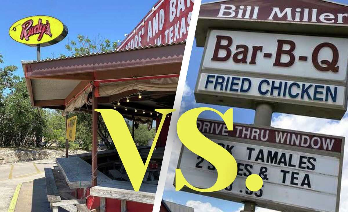 How does the barbecue at the San Antonio chain Bill Miller Bar-B-Q, left, stack up against another San Antonio barbecue institution, Rudy's Country Store and Bar-B-Q? It's the BBQ battle for bragging rights.