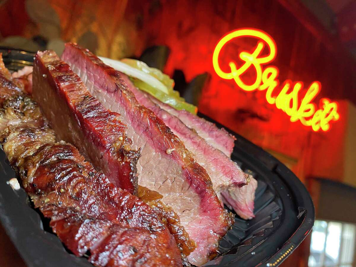 Smoked meats at the Bill Miller Lane location of San Antonio barbecue chain Bill Miller Bar-B-Q include lean and marbled brisket. We're pitting Bill Miller against another San Antonio barbecue institution, Rudy's Country Store and Bar-B-Q, to see who comes out the winner.