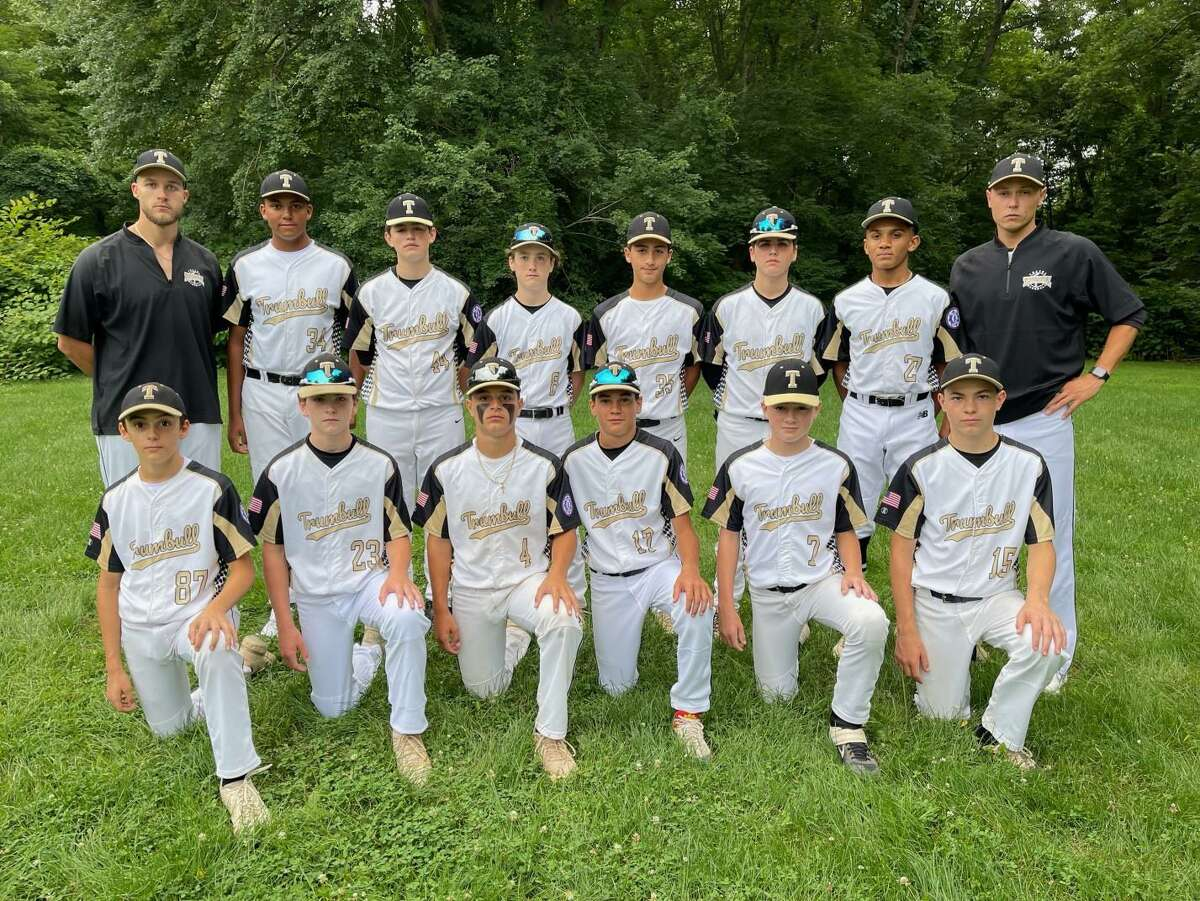Trumbull Babe Ruth 13s were runners-up at the state tournament. Team members, front row, are Trevor Schuelke, Colin Natlo, Giovanni Albaladejo, Kyle Esteeves, Sean Haight, and Sam Barrett; second row, coach Vinny Guglietti, Kaiden Escobar, Garrett Wood, Owen Burke, Alex Roth, Sean O'Connell, Kaelon Commodore and manager Nick Moreira.