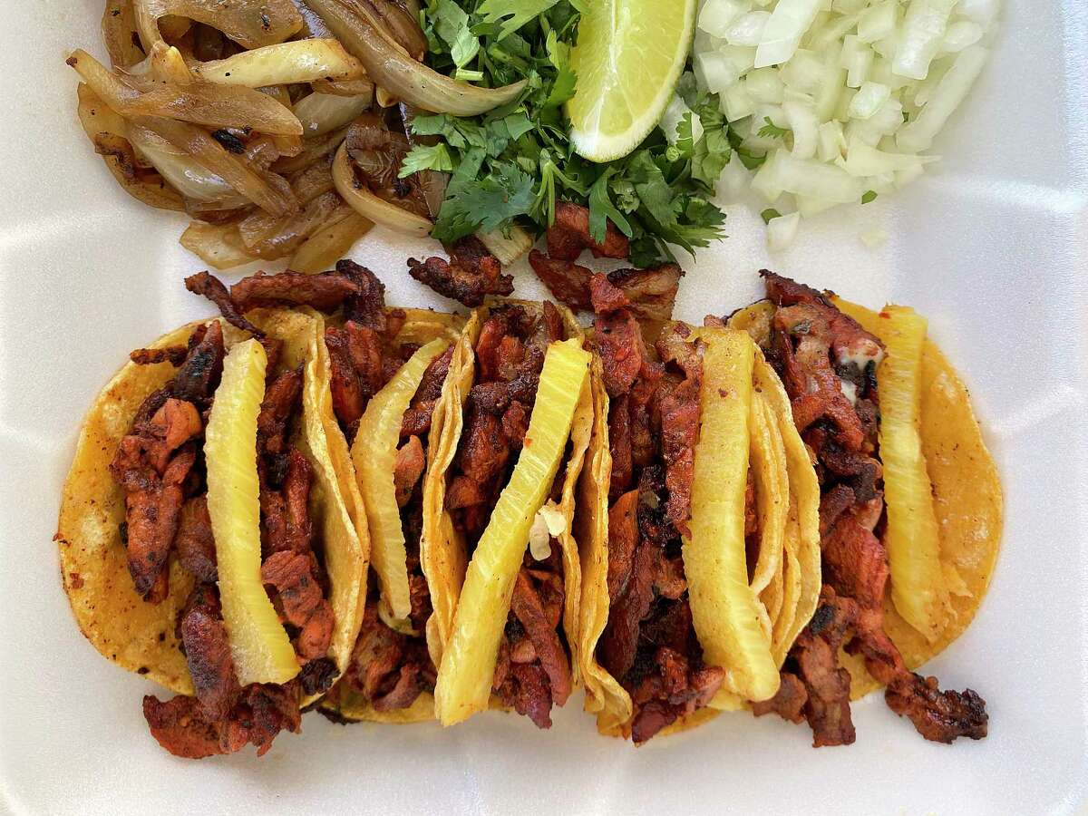 Mini taquitos with al pastor and pineapple are a top seller at Mister Diablo, a San Antonio taco truck specializing in al pastor.