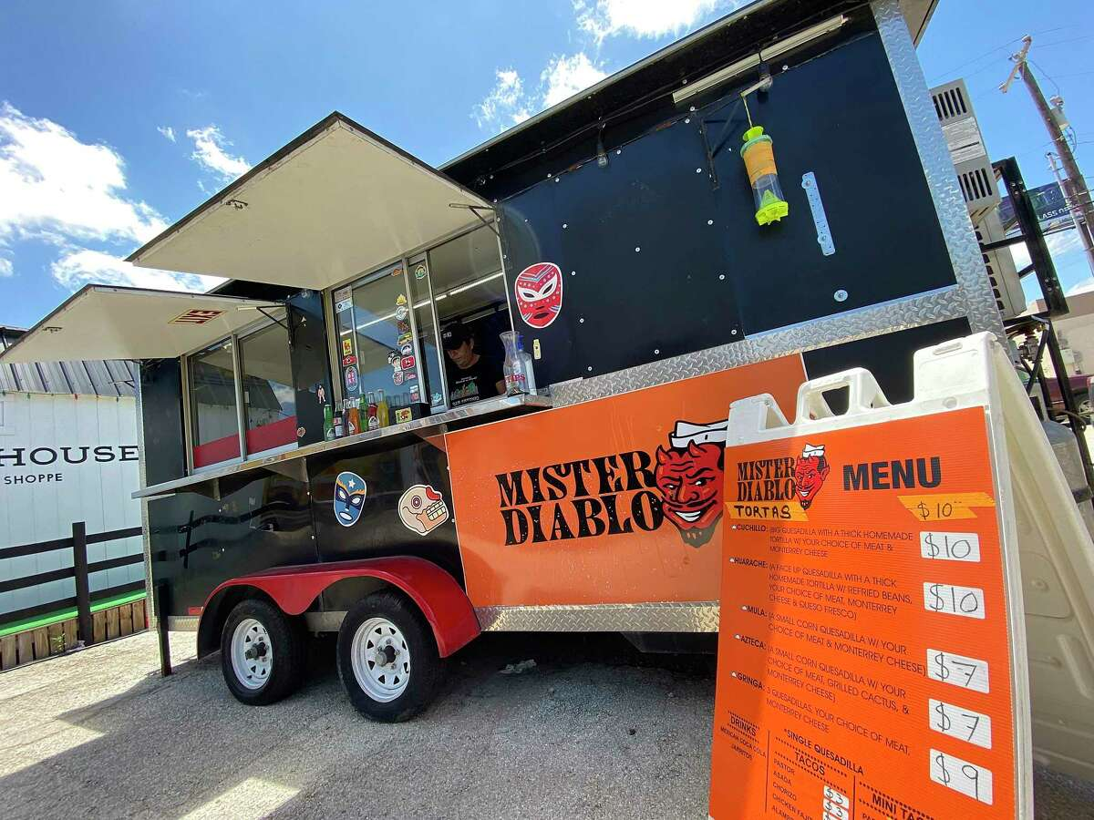 Mister Diablo is a San Antonio taco truck parked at Broadway News on Broadway specializing in al pastor.