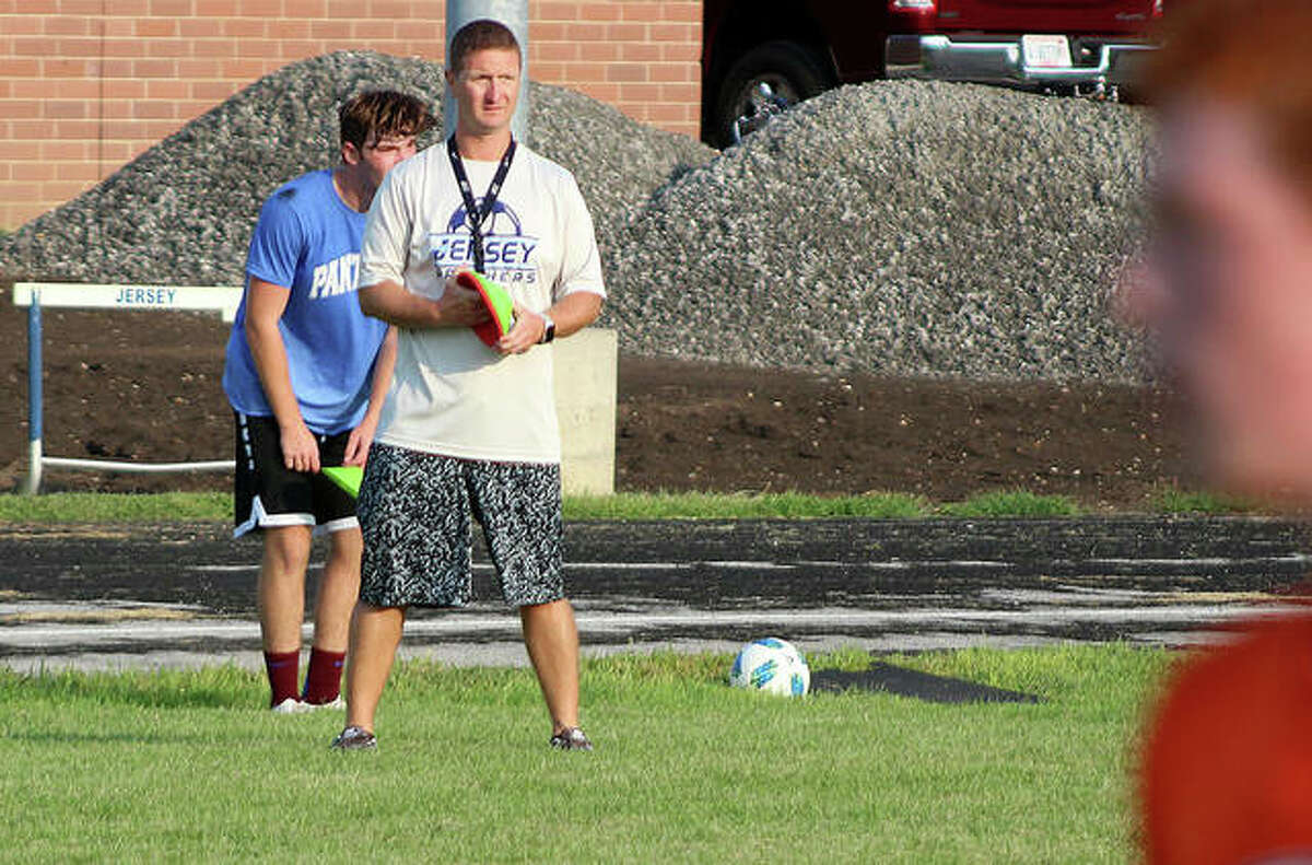 Jersey High coach Scott Burney's Panthers fell to Breese Mater Dei 5-2 Wednesday in their season opener. He is shown overseeing a practice earlier this month at JCHS.
