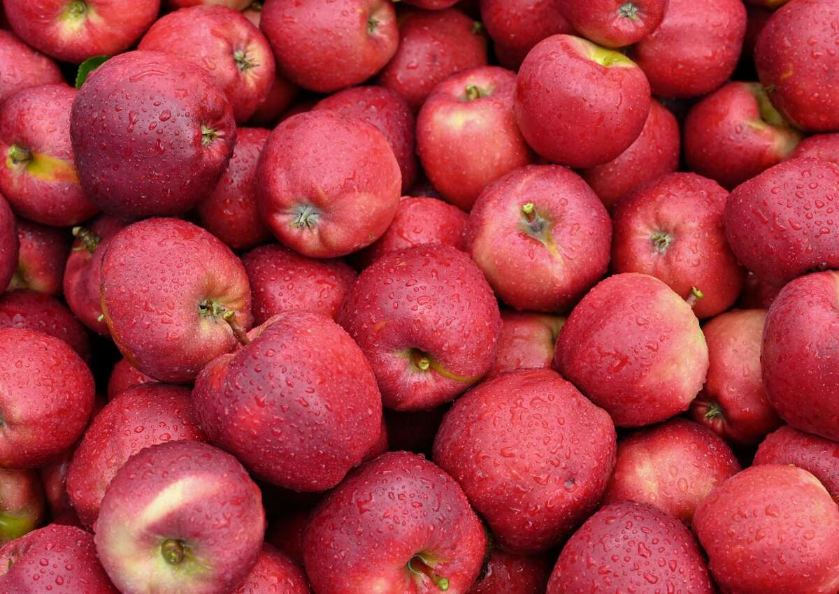 """""""Gala"""" variety apples are perfect for use in pies and in apple sauces, but are also great to eat as is. Gala are in season in August and Liberty says they are """"very sweet with a lively kick."""""""