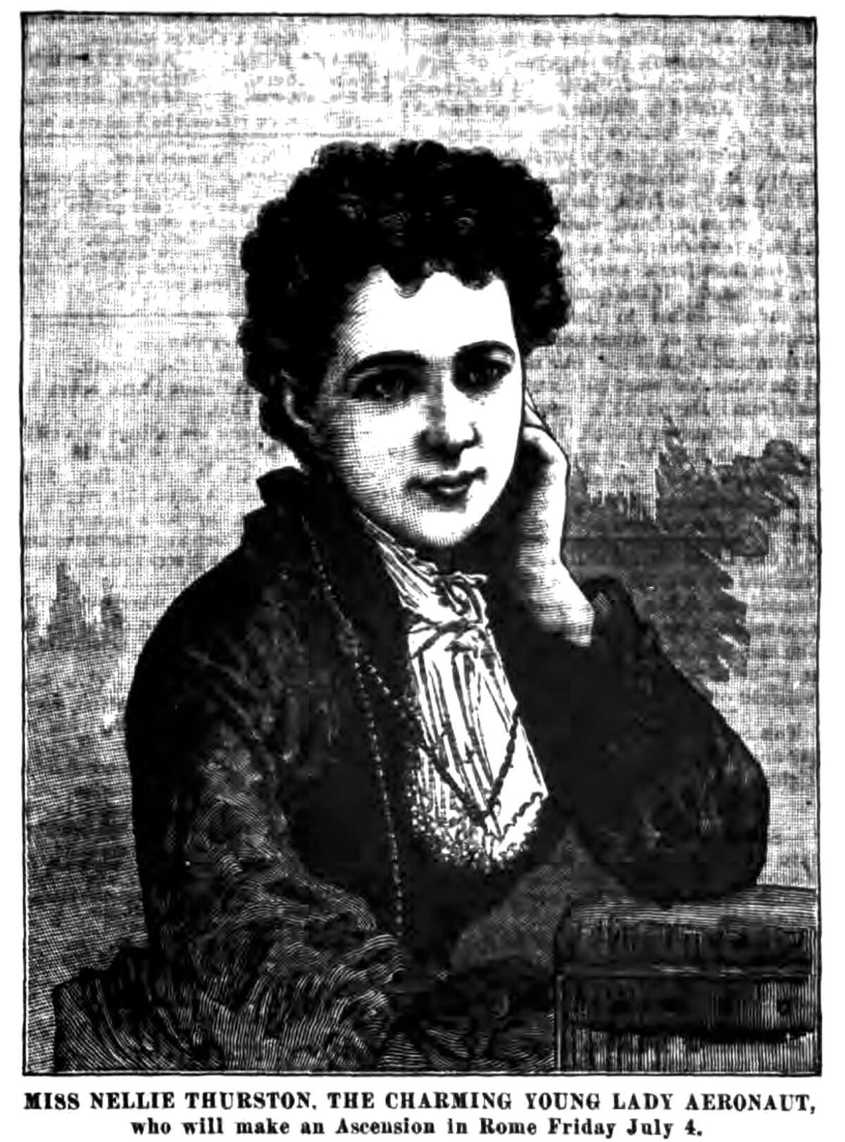 Nellie Thurston, shown in this archived newspaper clipping from the Lansingburgh Historical Society,was only 19 years old when she became the first U.S. woman to fly solo in a balloon in 1871.