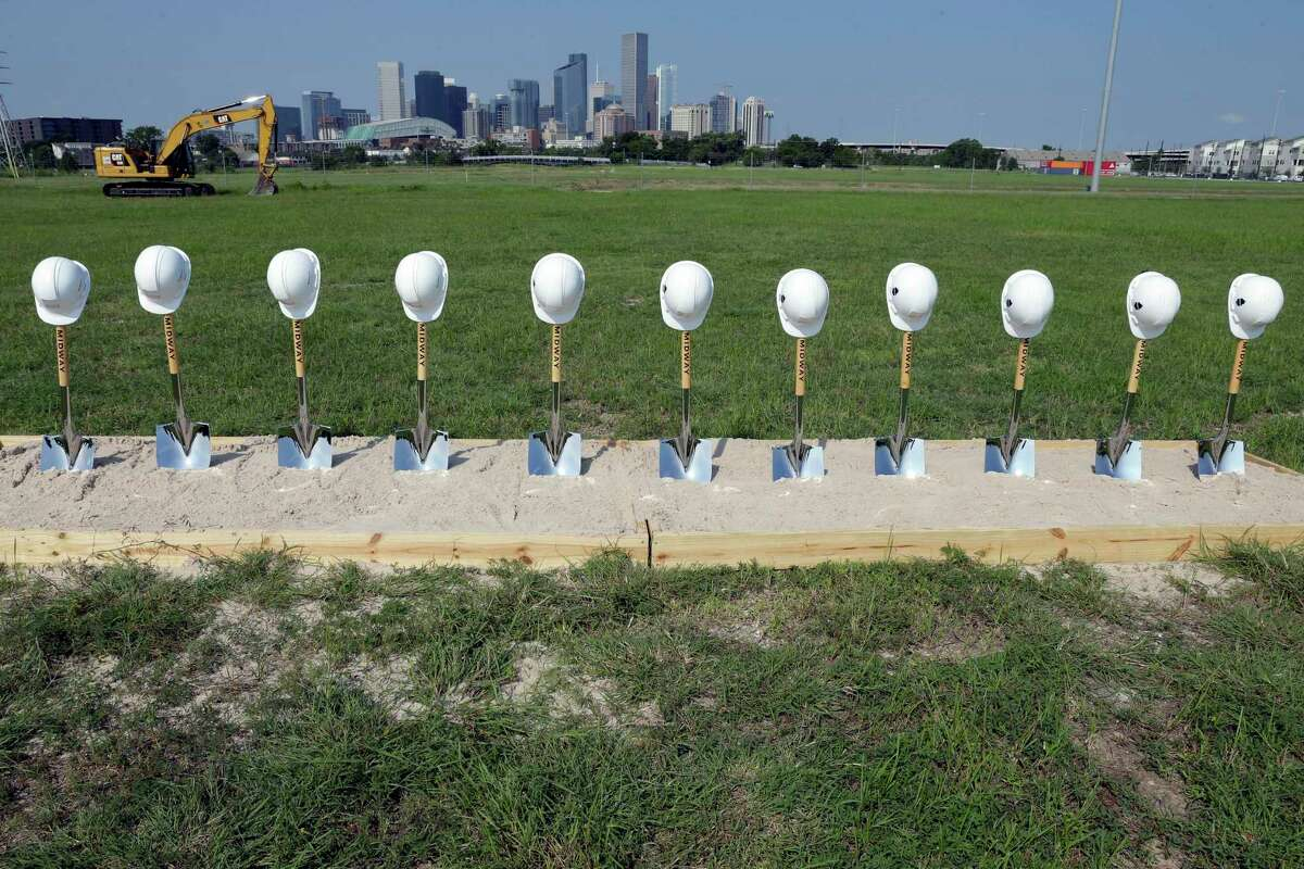 Shovels and a box of sand await dignitaries during a ground breaking ceremony on the East River site of a $2.5 billion, 150 acre mixed-use development on the southern edge of Fifth Ward Thursday, Aug. 26, 2021 in Houston, TX.