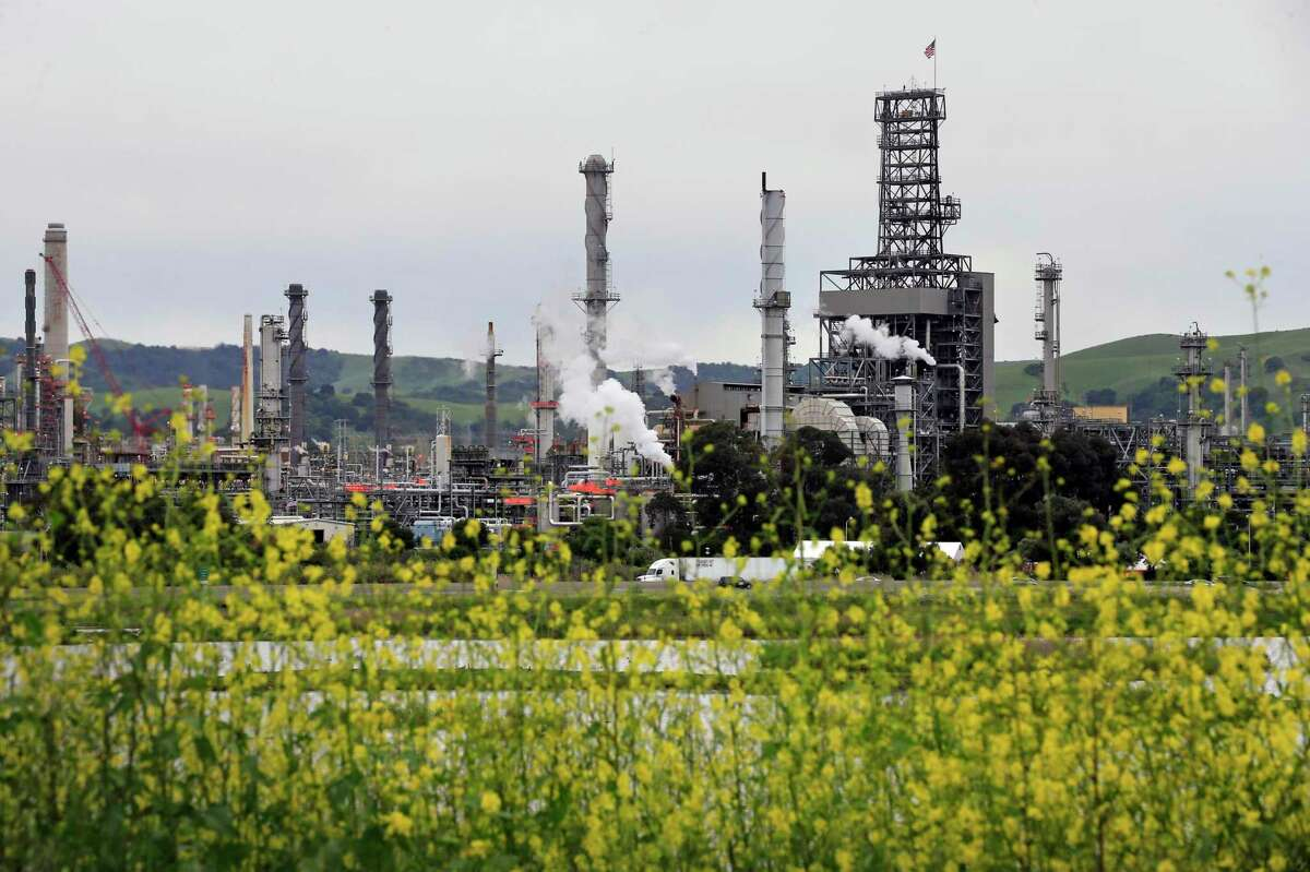 The PBF refinery in Martinez, Calif. A leaking pipe near the refinery spilled at least 12,500 gallons of raw sewage.