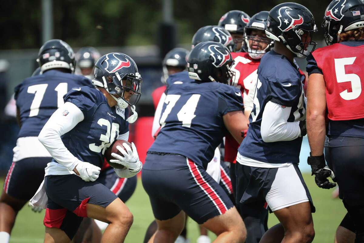 The Texans during practice in late August.