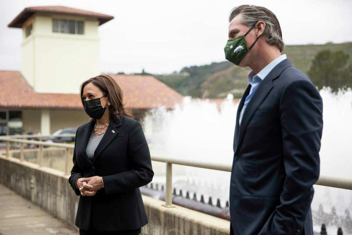 Vice President Kamala Harris and California Governor Gavin Newsom tour the East Bay Municipal Utility District's Upper Leandro Water Treatment Plant in Oakland, Calif. Monday, April 5, 2021.