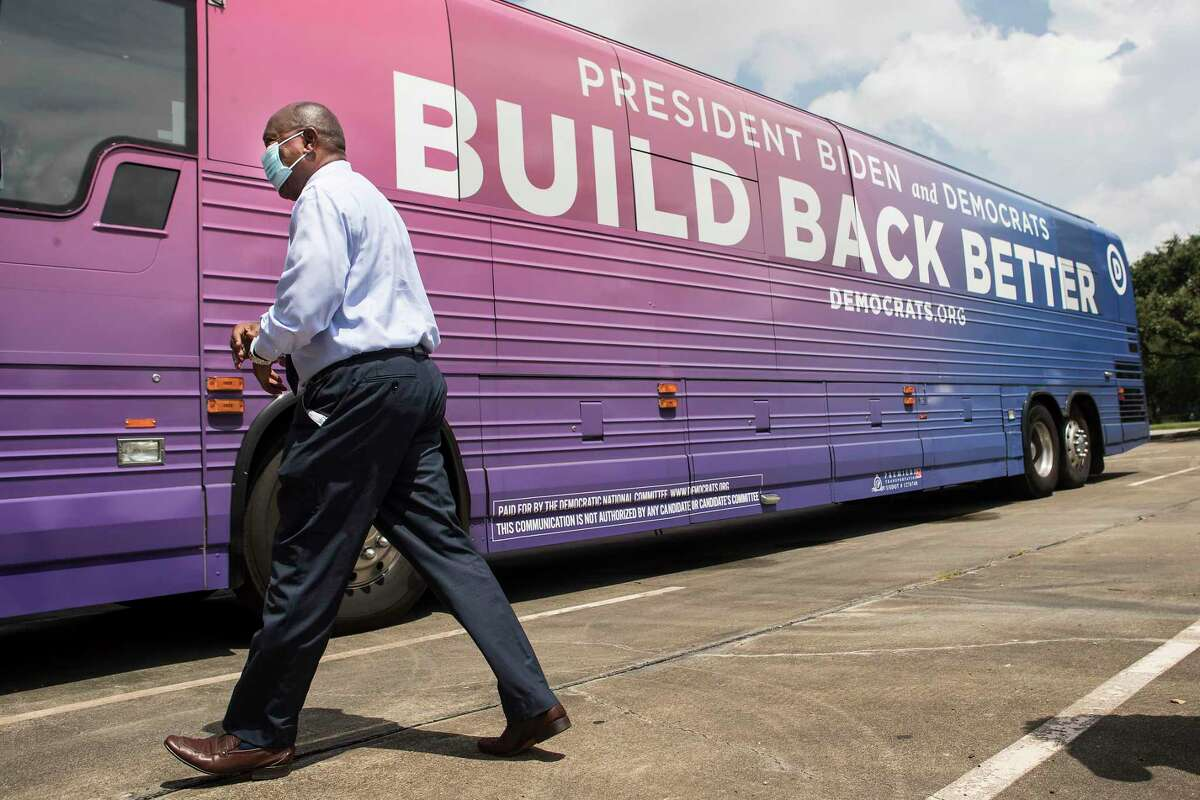 """Mayor Sylvester Turner attends the Democratic National Committee's """"Build Back Better"""" bus tour stop on Aug. 18, 2021 in Houston. The bus tour is highlighting President Biden and Democrats' plan for infrastructure and rebuilding after the COVID 19 pandemic."""