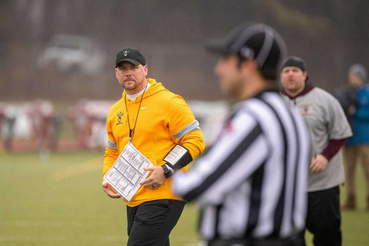 Sheehan coach John Ferrazzi on the sidelines during the Class S state championship game against Bloomfield in 2019, December 14, 2019 at Trumbull High School.