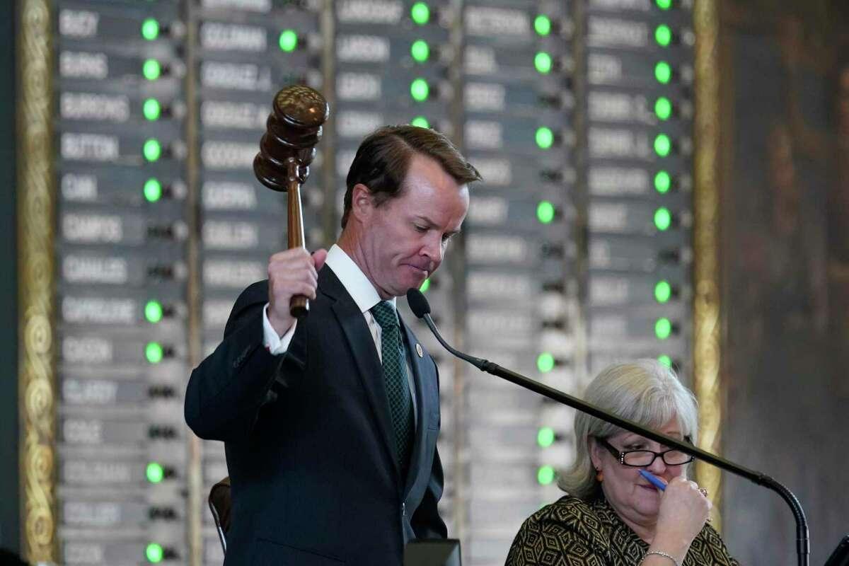 Speaker of the House Dade Phelan, R-Orange, presides as they House prepares to debate voting bill SB1, Thursday, Aug. 26, 2021, in Austin, Texas. (AP Photo/Eric Gay)